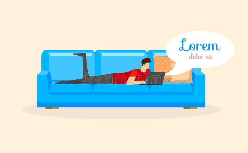 Young Man Lying on Sofa with Laptop Isolated. vector illustration
