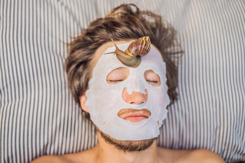 Young man makes a face mask with snail mucus. Snail crawling on a face mask. SPA for man, SPA for all.  stock photography