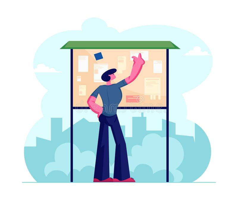 Young Man Megapolis Dweller Reading Announcement Pasted on Bulletin Board Stand on Street with City View Background. Citizen Male Character Read Advertising vector illustration