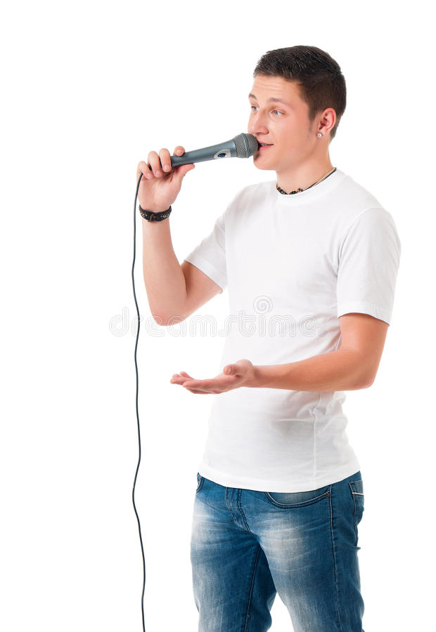 Young man with microphone stock image