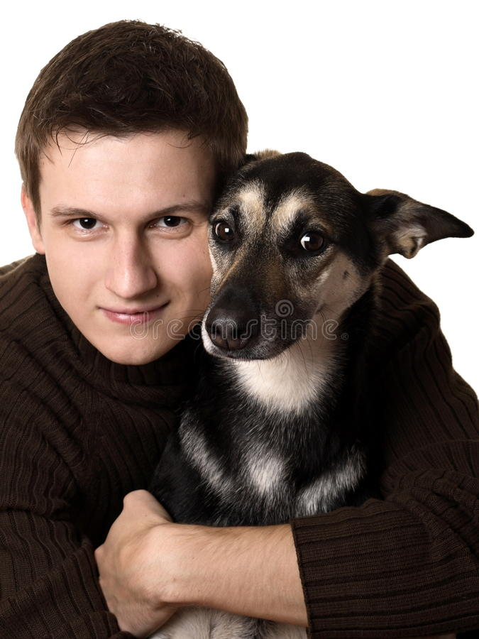 Download Young Man With Mixed Breed Dog Stock Image - Image of background, male: 23189721