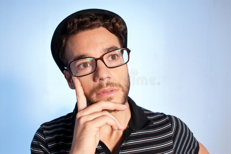 Download Young Man Modern Nerd Thinking Wide Angle Stock Photo - Image of caucasian, blue: 23954940