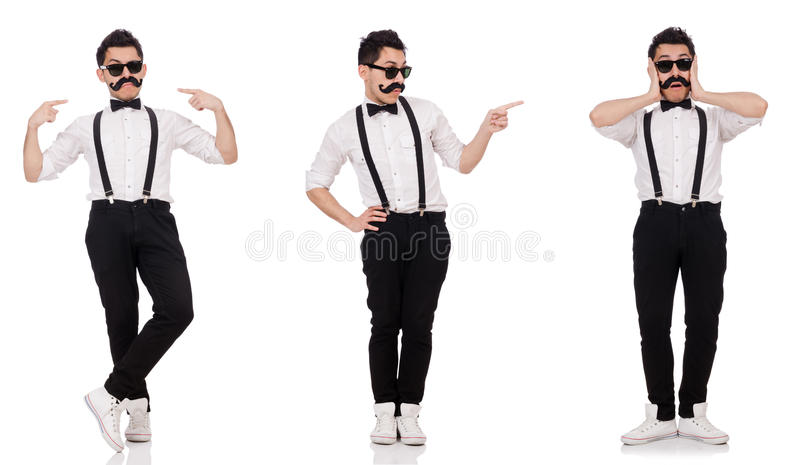 The young man with moustache isolated on white stock images