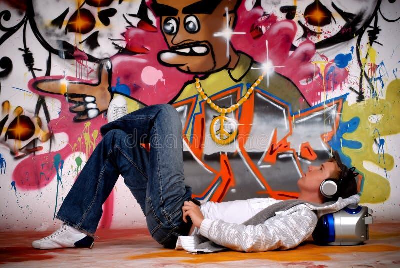 Download Young Man Music, Graffiti Wall Stock Illustration - Image: 10666937