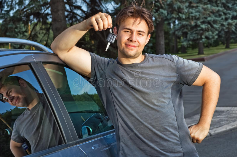 Download Young man with new car stock image. Image of person, purchase - 15113347