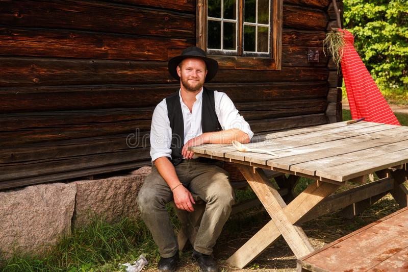 Young man in Norwegian national costume royalty free stock photo