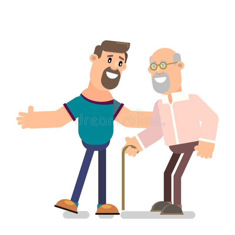 Old grandpa with his son vector illustration