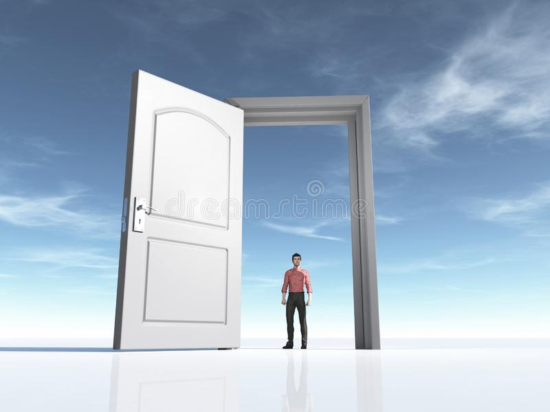Young man and a open door stock illustration