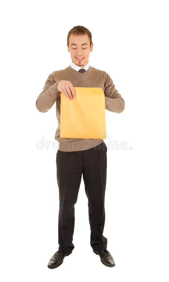 Download Young Man Opens A Post Package Stock Photo - Image of dispatching, interested: 23034264