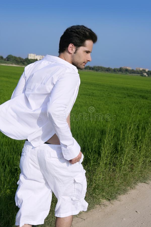 Download Young Man Outdoor Running In Meadow Stock Photo - Image: 16226046