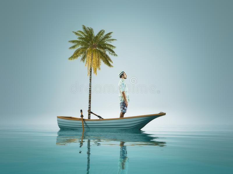 Young man and a palm tree standing in a boat, in the middle of ocean stock photo