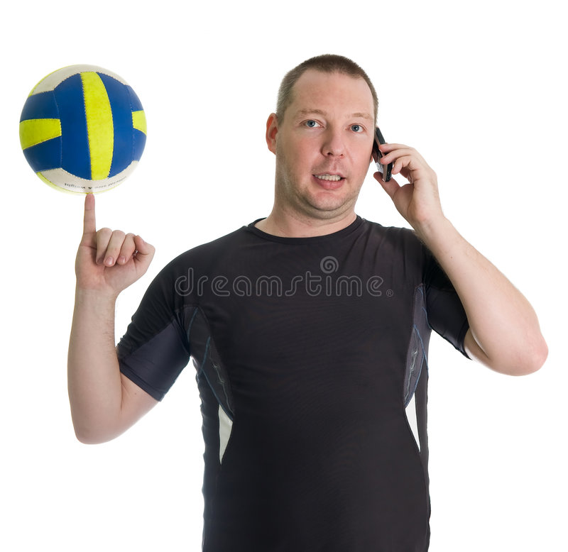 Young Man Performing Trick With Volley Ball Stock Images