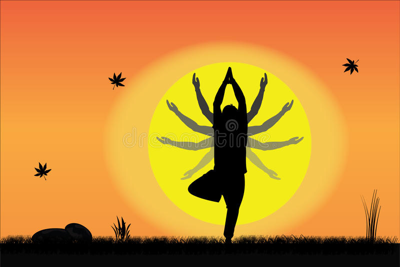 Download Yoga At Sunset - Young Man Performing At Sunrise Stock Illustration - Image: 29150297