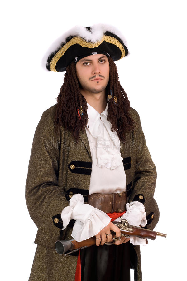 Young man in a pirate costume stock photography