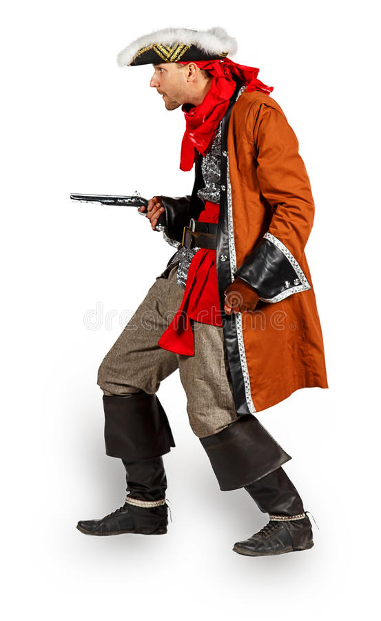 Young man in a pirate costume with pistol. Isolated on white background stock image