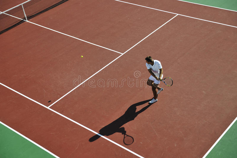 Download Young Man Play Tennis Outdoor Stock Photo - Image: 16142330