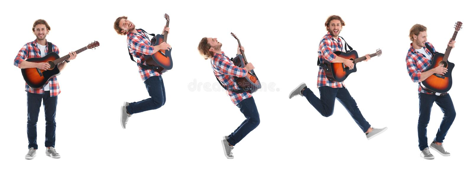 Young man playing acoustic guitar on white stock photos