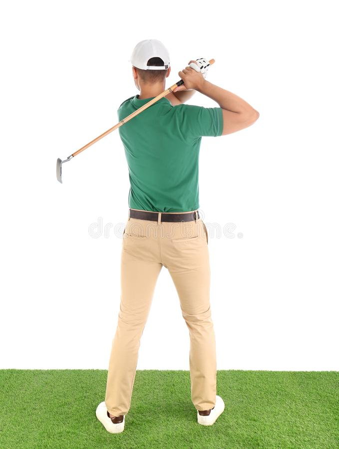 Young man playing golf on course  white background stock images