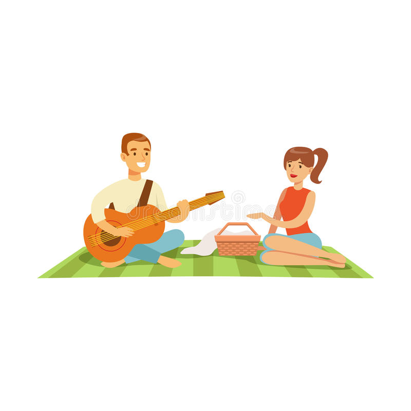 Young man playing guitar to his girl on a picnic, happy couple in love sitting on a picnic plaid vector Illustration royalty free illustration