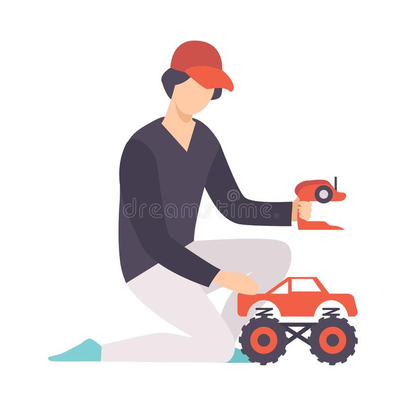 Young Man playing with Radio Controlled Car, Guy Holding Remote Control Olaying with Electric Car Vector Illustration stock illustration
