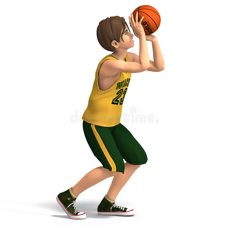 Young man plays basketball royalty free illustration