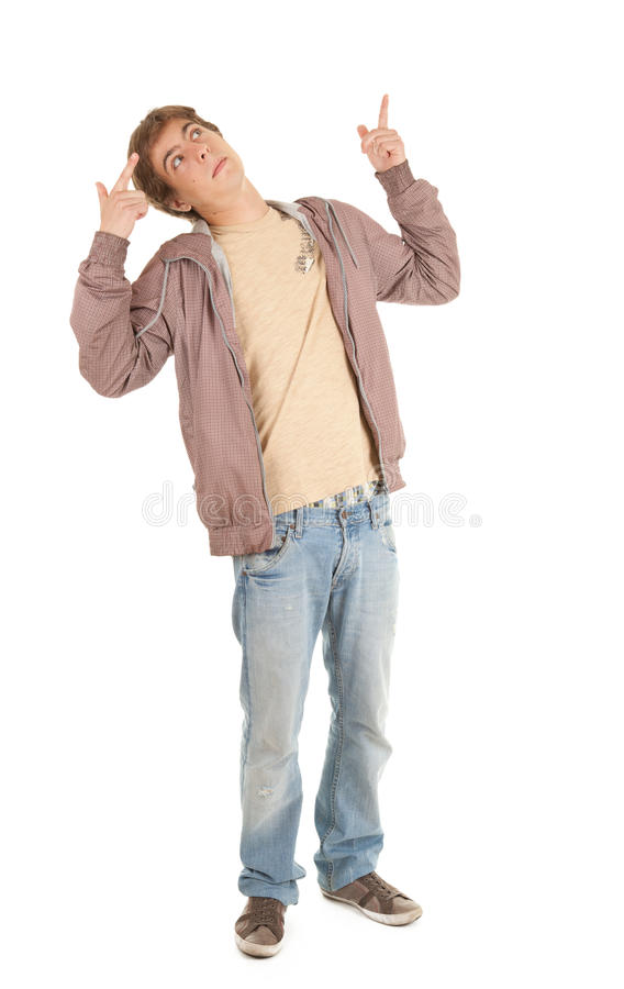 Download Young Man Pointing Up, Full Length Royalty Free Stock Images - Image: 21701029