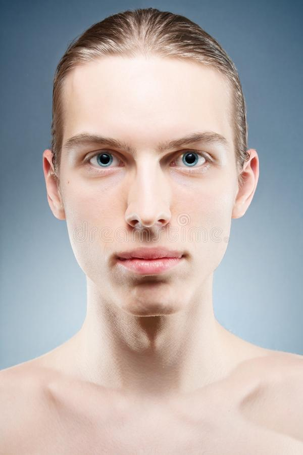 Download Young man portrait stock image. Image of look, head, blue - 23886373