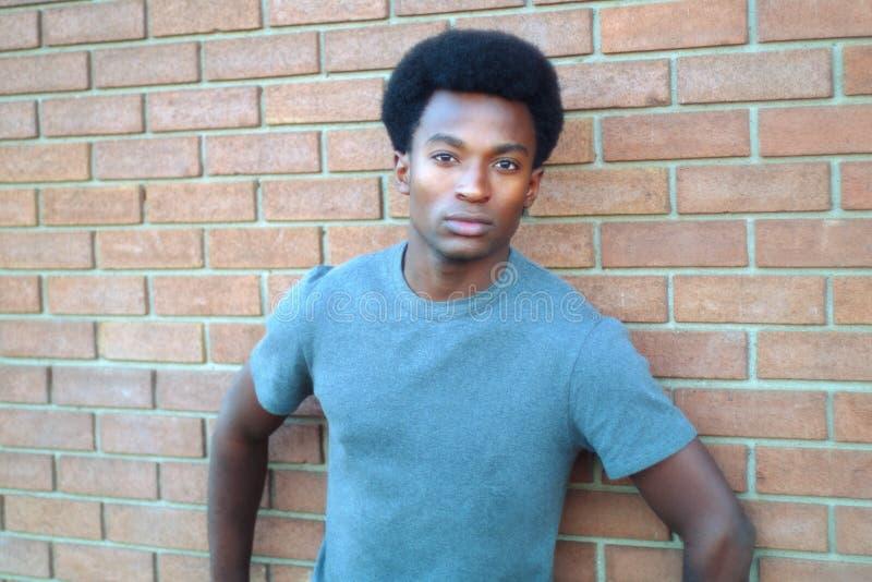 Young man portrait brick wall t-shirt royalty free stock photo