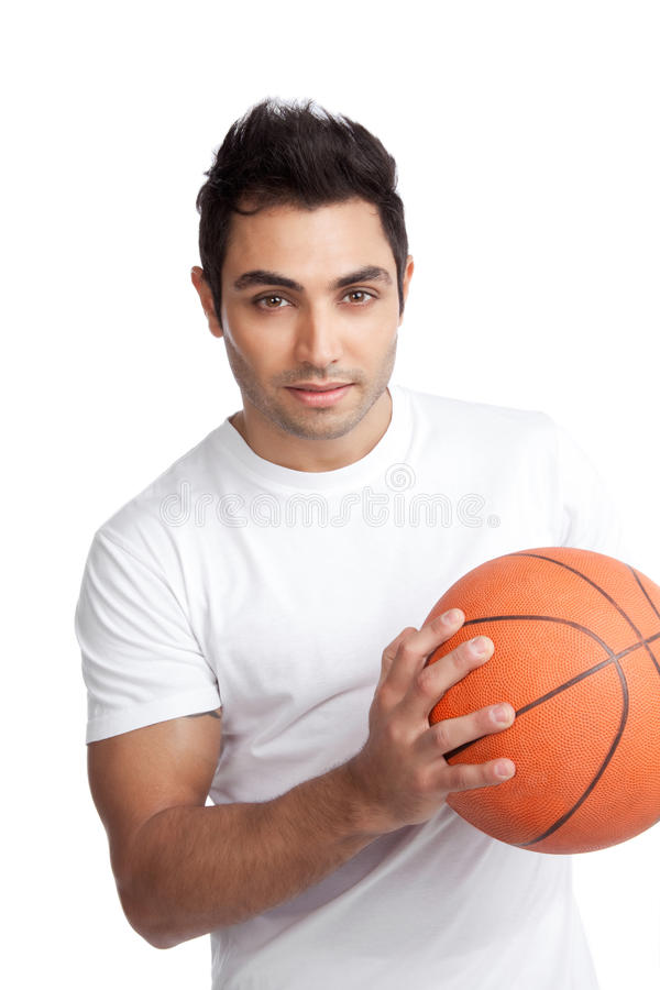 Young Man Portrait Holding Basketball stock images