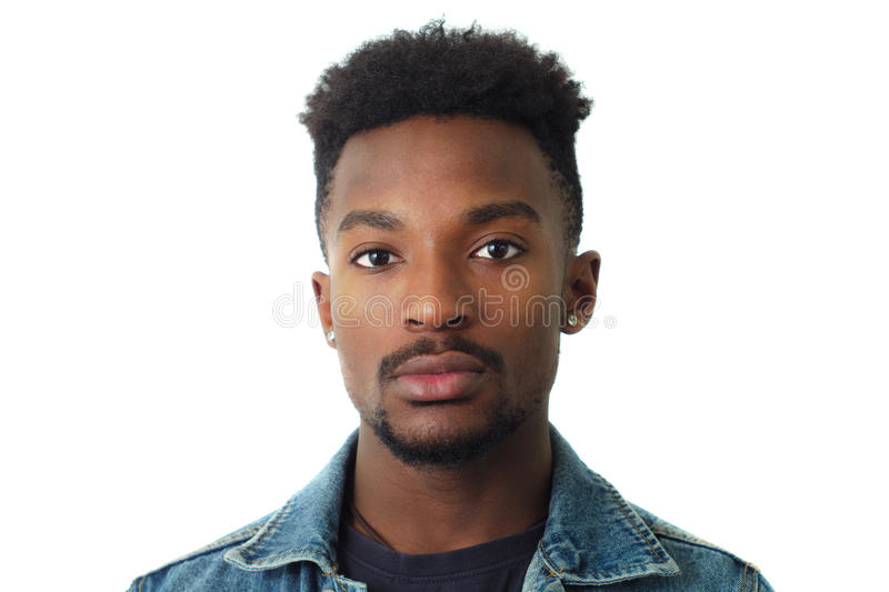 Young man portrait studio white background face close-up twenty stock photography