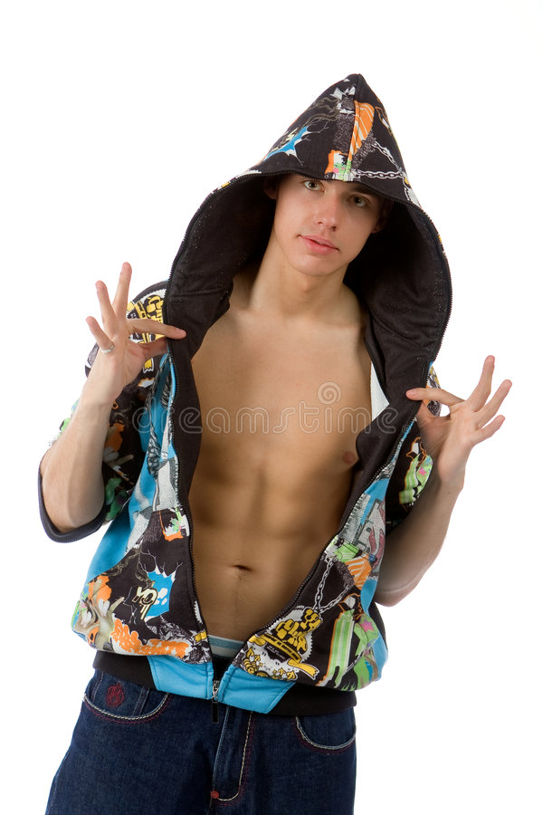 The young man posing in studio stock image