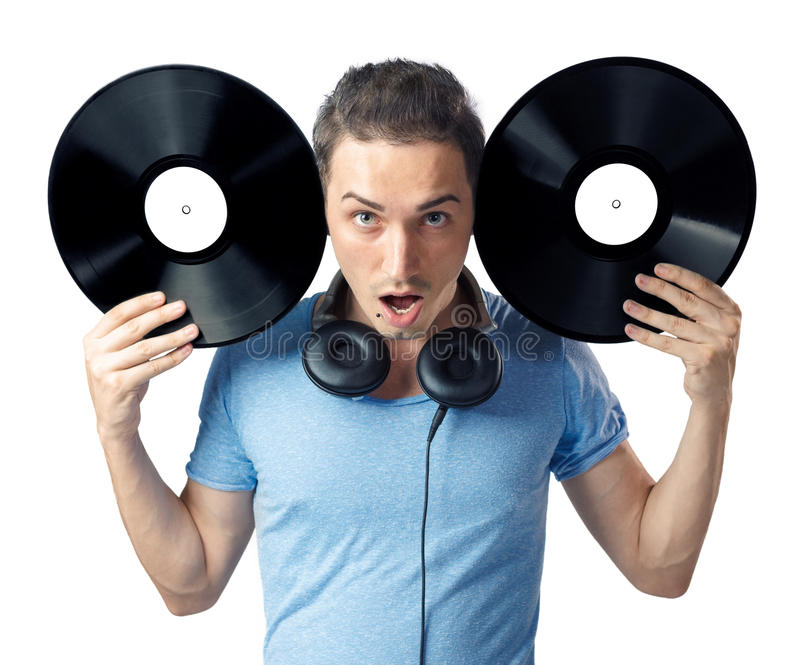 Download Young Man Posing To Camera With Two Black Vinyls Stock Image - Image: 29527407