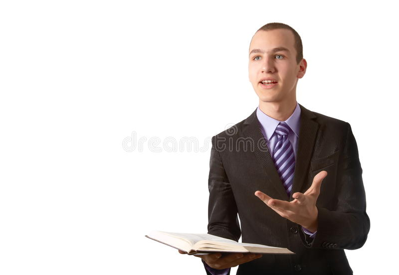 Young man preach the Gospel. In front of a white background royalty free stock images