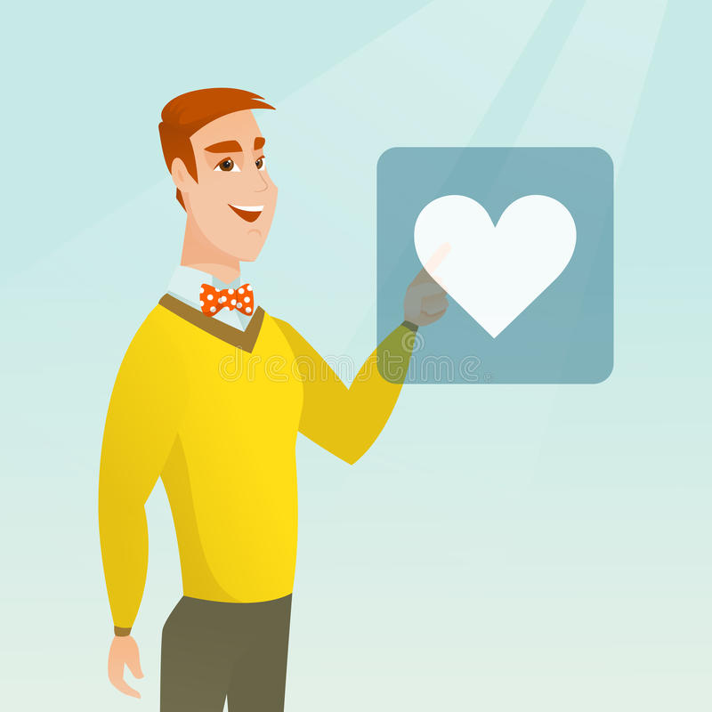 Young man pressing heart shaped button. royalty free illustration