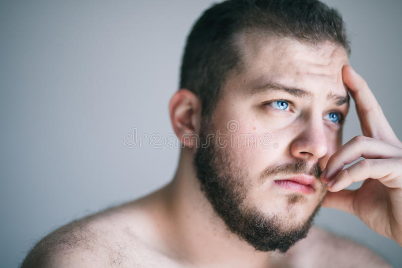 Young man with a problem royalty free stock photo