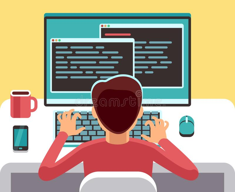 Young man programmer working on computer with code on screen. Student programming vector concept. Man work with computer, programmer professional and character vector illustration