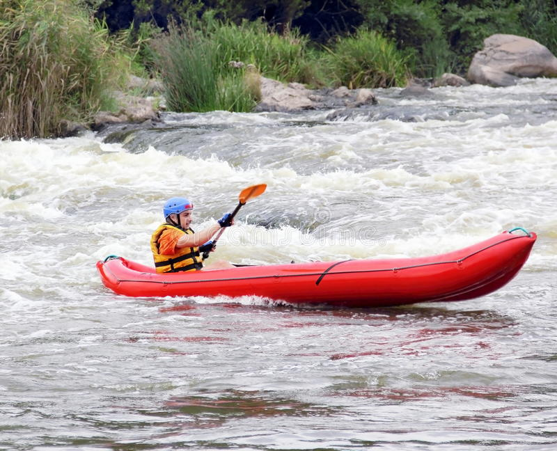 Download Young Man In Raft Boat On White Water Stock Image - Image of paddle, extreme: 21030119