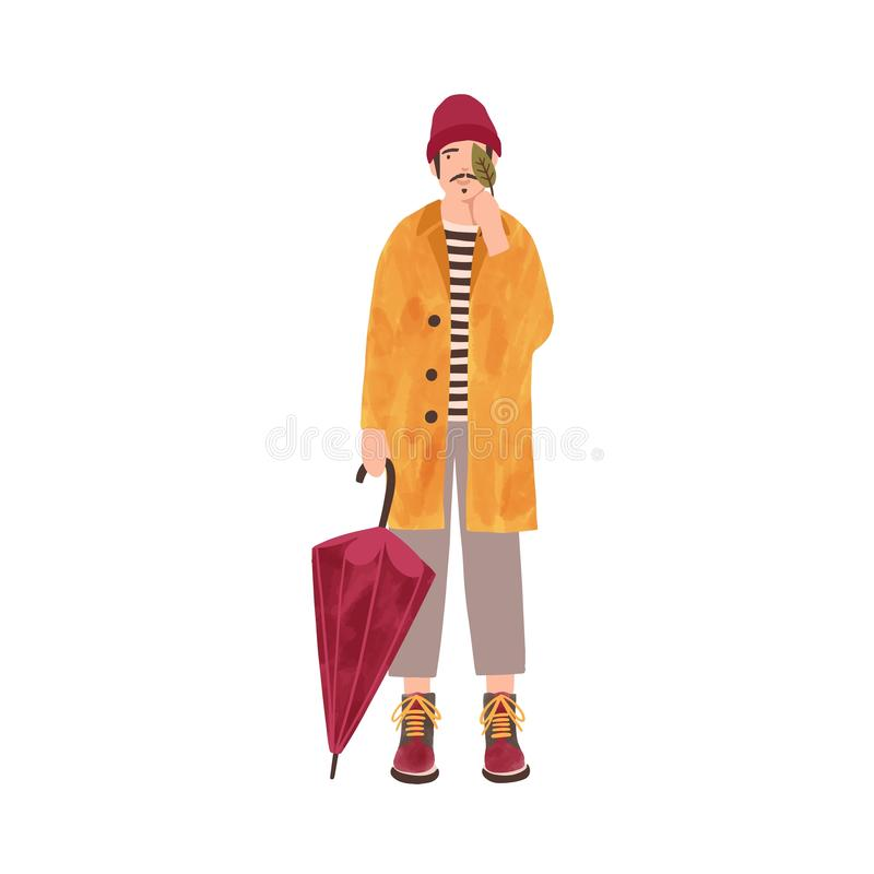 Young man in raincoat flat vector illustration. Male model wearing yellow coat and warm hat cartoon character. Smiling. Guy holding umbrella and leaf. Autumn royalty free illustration