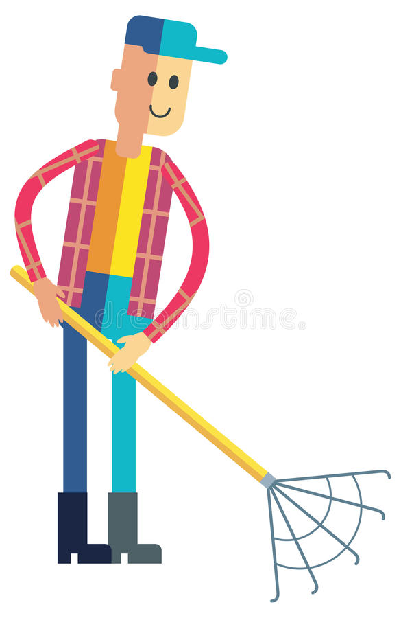 Young man with rake working. Gardening, planting, cleaning. Raster clip art. Young man with rake working. Gardening, planting, cleaning. Gardener character in vector illustration