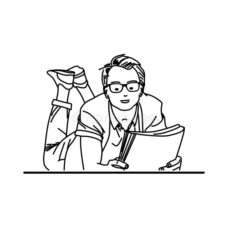 Young man read book in fun style hand drawn line art. Vector royalty free illustration