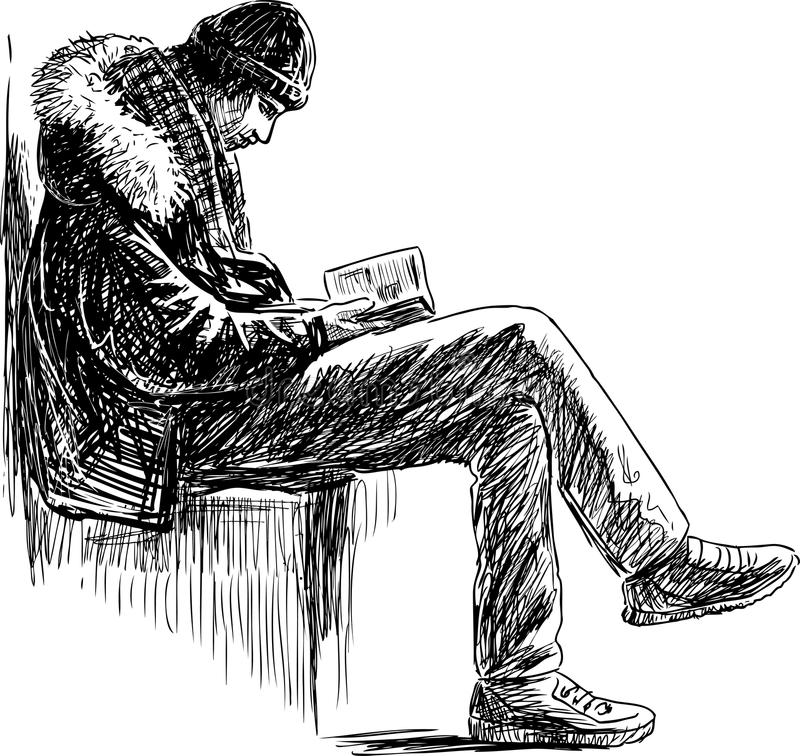 Young man reads a book stock illustration