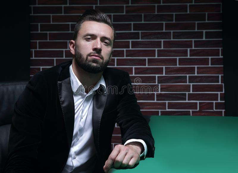 Poker player with suit royalty free stock images