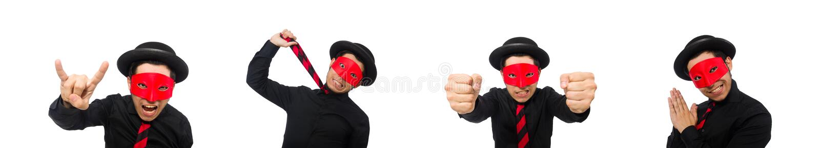 Young man with red mask isolated on white stock image