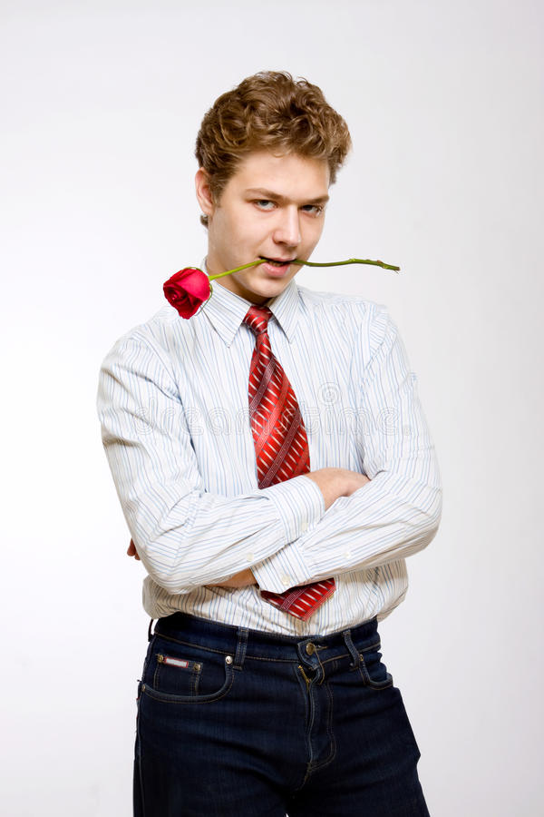 Young Man With Red Rose Royalty Free Stock Image