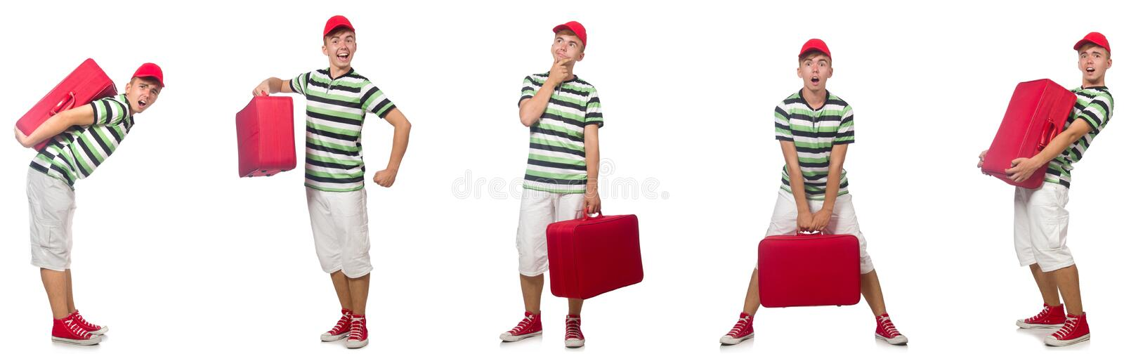 The young man with red suitcase isolated on white stock photography