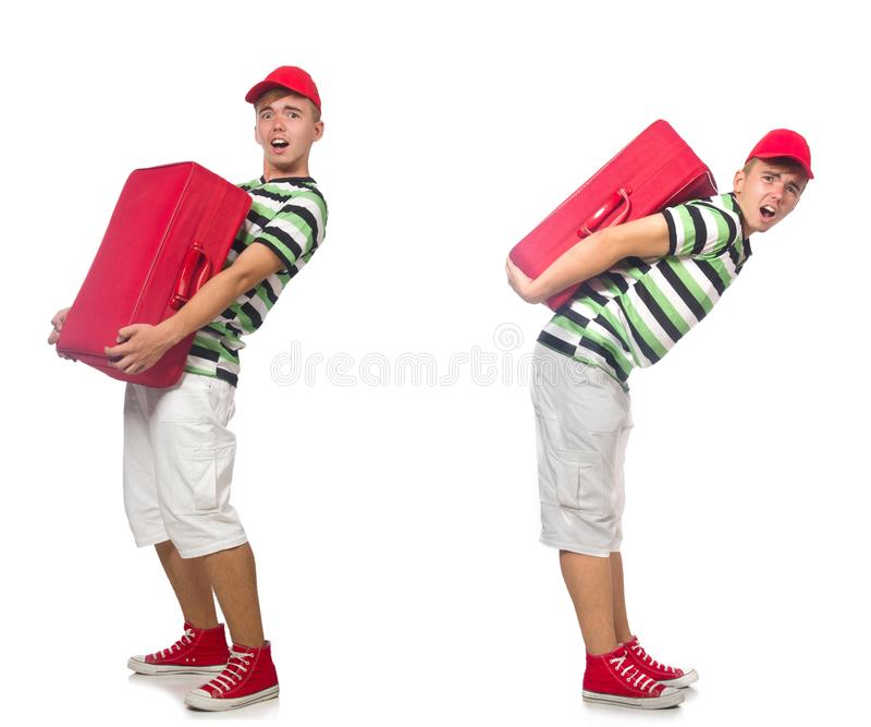 Young man with red suitcase isolated on white stock photography