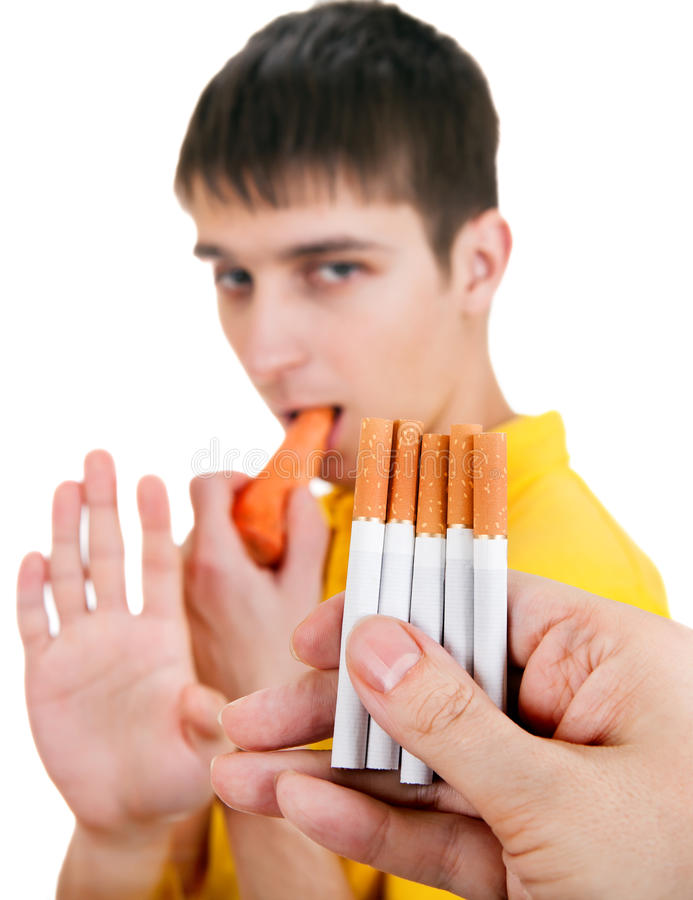 Young Man refuse a Cigarettes stock image