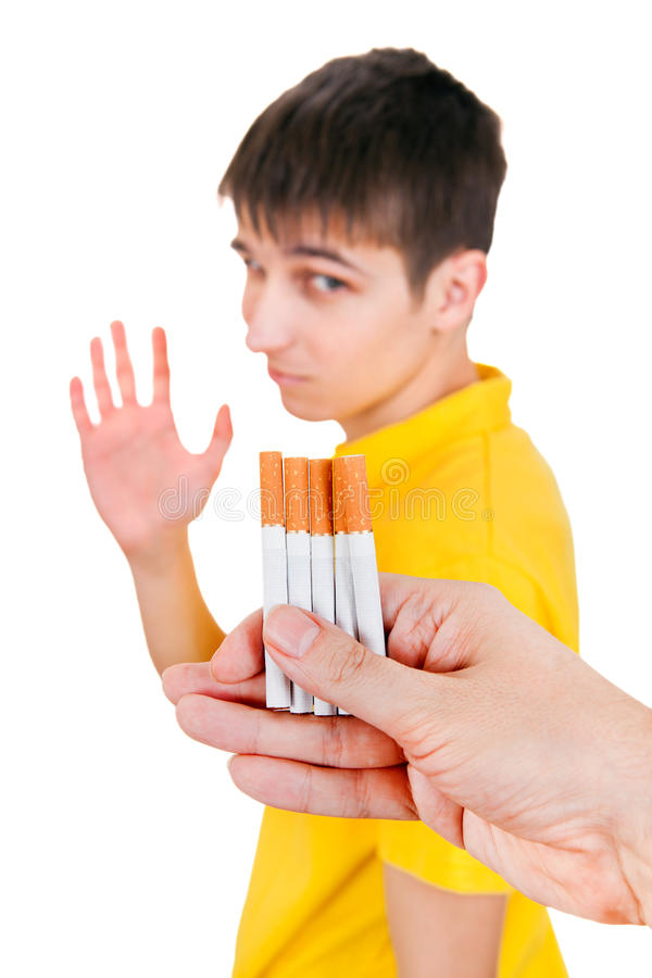 Young Man refuse a Cigarettes stock photography