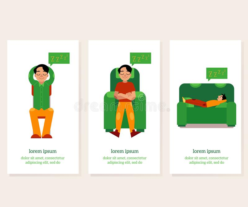 Young man relaxing banners set with male character relaxes sitting and lying in comfortable furniture. Young man relaxing banners set with male character royalty free illustration