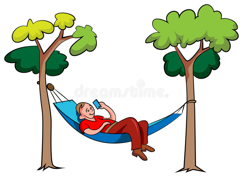 Young man relaxing in hammock in the park vector illustration